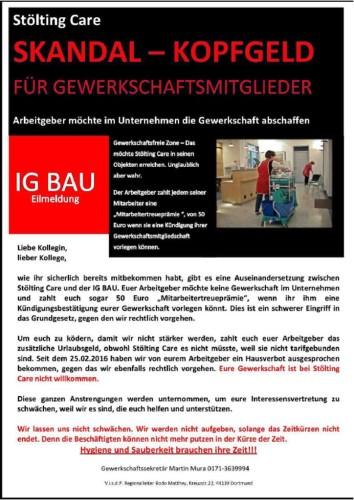 Informationsflugblatt der IG BAU für die KollegInnen bei Stölting
