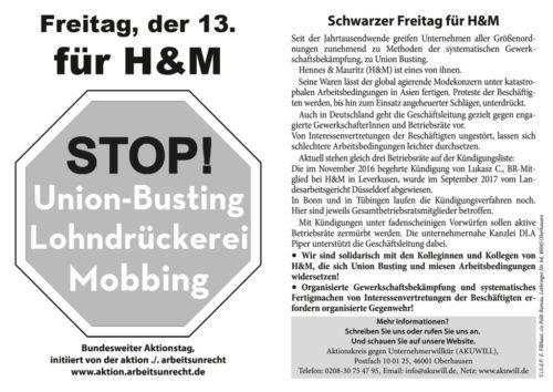 Der am 13.10.17 in Essen bei H&M verteilte Flyer.